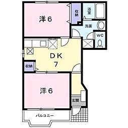 京成本線 京成臼井駅 徒歩10分の賃貸アパート 1階2DKの間取り