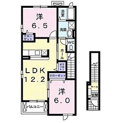 JR常磐線 佐和駅 徒歩34分の賃貸アパート 2階2LDKの間取り