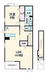 JR飯田線 牛久保駅 徒歩13分の賃貸アパート 2階1LDKの間取り