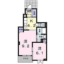 京阪本線 大和田駅 徒歩18分の賃貸アパート 1階2Kの間取り