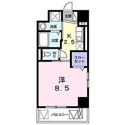 JR東海道本線 浜松駅 徒歩6分の賃貸マンション 6階1Kの間取り