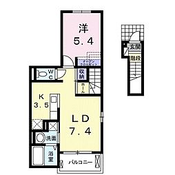 JR常磐線 常陸多賀駅 徒歩33分の賃貸アパート 2階1LDKの間取り