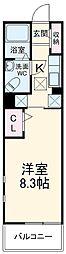 湘南新宿ライン高海 新前橋駅 徒歩11分の賃貸マンション 1階1Kの間取り
