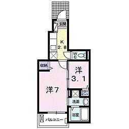 東武東上線 東松山駅 バス10分 パークタウン五領下車 徒歩8分の賃貸アパート 1階1Kの間取り