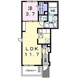 JR高崎線 高崎駅 徒歩19分の賃貸アパート 1階1LDKの間取り