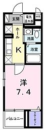 JR青梅線 小作駅 徒歩3分の賃貸マンション 4階1Kの間取り