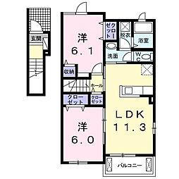 東武伊勢崎線 茂林寺前駅 徒歩8分の賃貸アパート 2階2LDKの間取り