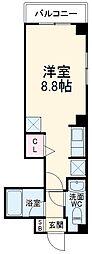 NY Square Funabashi 1階ワンルームの間取り