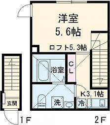 オーガスタコート板橋本町 2階1Kの間取り