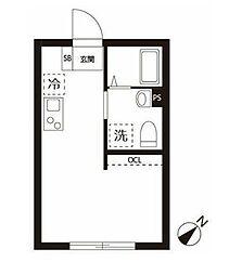 東急目黒線 不動前駅 徒歩7分の賃貸マンション 2階ワンルームの間取り
