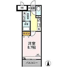メゾン・ド・シルキー 7階1Kの間取り