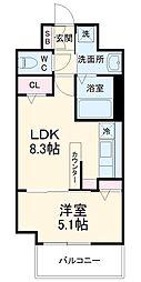 ヴァロアール博多 5階1LDKの間取り