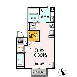 JR東海道本線 岡崎駅 徒歩5分の賃貸アパート 2階ワンルームの間取り