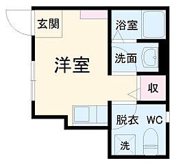 JR武蔵野線 三郷駅 徒歩8分の賃貸アパート 1階ワンルームの間取り