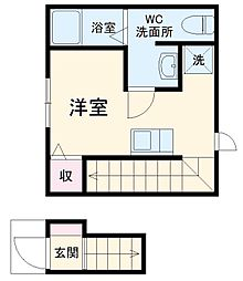 mitia terrace 2階ワンルームの間取り