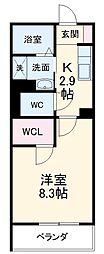愛知環状鉄道 大門駅 徒歩27分の賃貸マンション 3階1Kの間取り