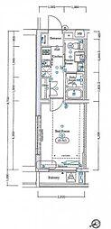エスファルベ中野松が丘アネックス 3階1Kの間取り
