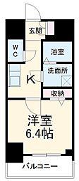 名古屋市営桜通線 中村区役所駅 徒歩9分の賃貸マンション 8階1Kの間取り