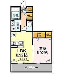 ホヌ 3階1LDKの間取り