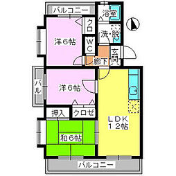 JR香椎線 土井駅 徒歩5分の賃貸マンション 4階3LDKの間取り