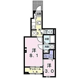 名鉄名古屋本線 前後駅 徒歩13分の賃貸アパート 1階1Kの間取り