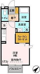 JR常磐線 土浦駅 3.2kmの賃貸アパート 2階ワンルームの間取り