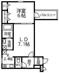 仮称 フジパレス千代田5丁目 2階1LDKの間取り