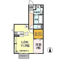 (仮)D-room江木町 1階1LDKの間取り