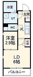 名古屋市営東山線 中村日赤駅 徒歩6分の賃貸マンション 2階2Kの間取り