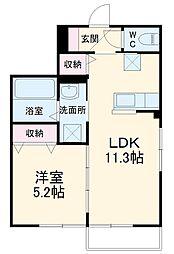 仮)ネクスト成田 1階1LDKの間取り