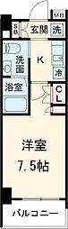 AZESTお花茶屋II 4階1Kの間取り