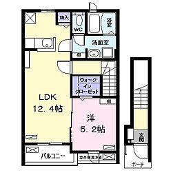 名古屋市営東山線 高畑駅 徒歩24分の賃貸アパート 2階1LDKの間取り