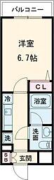 AZEST亀有II 5階1Kの間取り