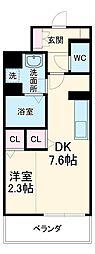 名古屋市営東山線 中村日赤駅 徒歩9分の賃貸マンション 4階1DKの間取り