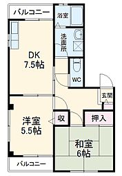 エコーハイム 3階2DKの間取り