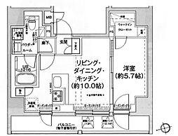 都営浅草線 戸越駅 徒歩6分の賃貸マンション 13階1LDKの間取り