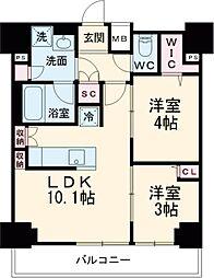 京急本線 青物横丁駅 徒歩2分の賃貸マンション 8階2LDKの間取り