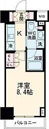 プラウドフラット西早稲田 8階1Kの間取り
