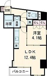 プラウドフラット西早稲田 8階1LDKの間取り