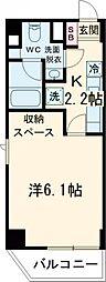 東急池上線 旗の台駅 徒歩1分の賃貸マンション 3階1Kの間取り