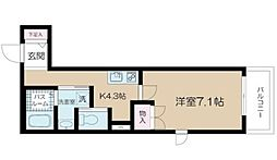 アルム西新宿 2階1Kの間取り