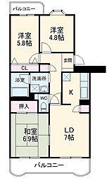 フォレスト松本 3階3LDKの間取り