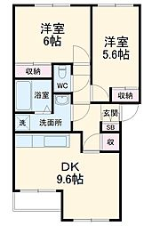 JR成田線 成田駅 バス8分 戸崎公園下車 徒歩7分の賃貸アパート 2階2DKの間取り
