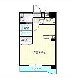 高松琴平電気鉄道志度線 今橋駅 徒歩6分の賃貸マンション 4階1Kの間取り