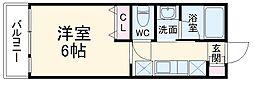 ABCヒルズ成田 2階1Kの間取り