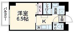 ビットビル壺屋 2階1Kの間取り