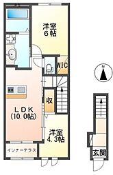 JR常磐線 ひたち野うしく駅 8.3kmの賃貸アパート 2階2LDKの間取り