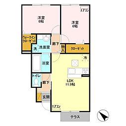 D-room wit A 1階2LDKの間取り