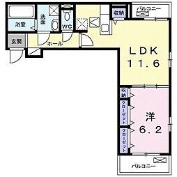 小田急小田原線 伊勢原駅 徒歩21分の賃貸アパート 1階1LDKの間取り