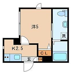 JR山手線 日暮里駅 徒歩10分の賃貸マンション 1階1Kの間取り